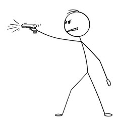 Cartoon angry man shooting a gun weapon pistol vector