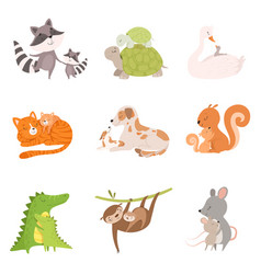 cartoon animal mother and her cub vector image
