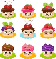 Cartoon cakes vector image