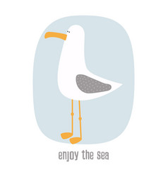 Cartoon card with seagull vector