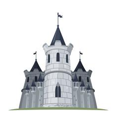 cartoon castle with flags fantasy building vector image