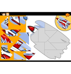 cartoon jet jigsaw puzzle game vector image