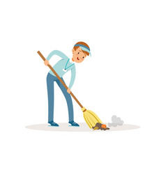 Cheerful boy sweeping trash using broom teenager vector