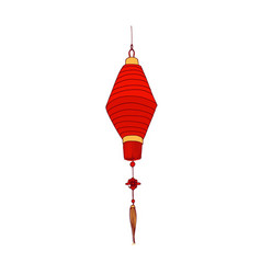 Chinese paper lantern red and gold colors vector