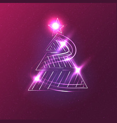 christmas trees on a dark background vector image