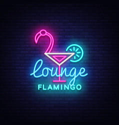 cocktail lounge neon sign flamingo concept vector image