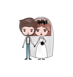 Color crayon silhouette caricature newly married vector