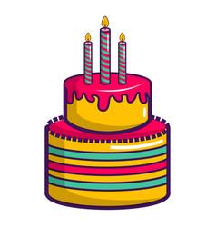 Colorful birthday cake icon cartoon style vector