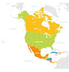 colorful map north and central america vector image