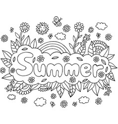 coloring page for adults with mandala and summer vector image