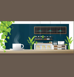 cup coffee on wooden table coffee shop vector image