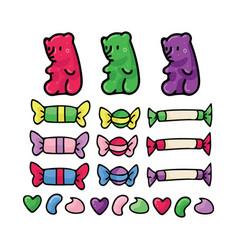 Cute candy cartoon motif set vector
