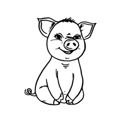 Doodle pig sitting and smiling vector