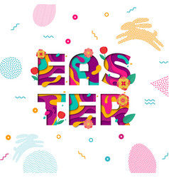easter banner paper cut text lettering with vector image