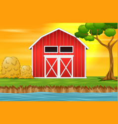 farm landscape background with red barn vector image