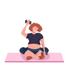 fat obese woman doing exercises with dumbbell vector image
