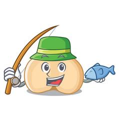 Fishing chickpeas mascot cartoon style vector