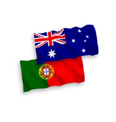 Flags australia and portugal on a white vector