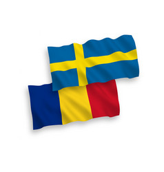 Flags romania and sweden on a white background vector