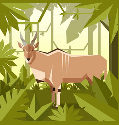 flat geometric jungle background with common eland vector image