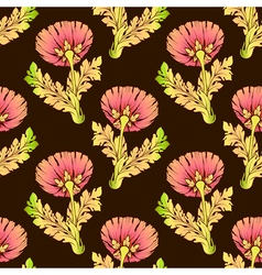 Garden flowers on dark color seamless hand-painted vector