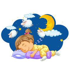 girl sleeping with counting sheeps in her dream vector image