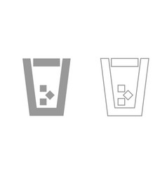 Glass with ice grey set icon vector