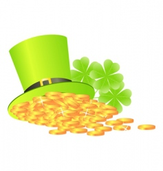 green hat with golden coins vector image