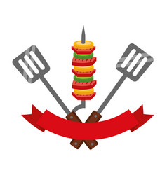 Grill barbecue skewers spatulas and ribbon vector