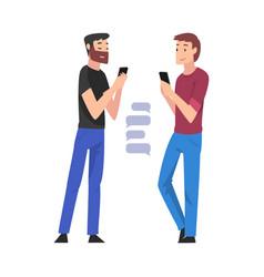 Guys standing with smartphone young men hatting vector