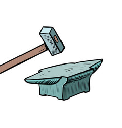 hammer and anvil blacksmith tool vector image