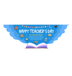 Happy teacher day with opened book ribbon vector