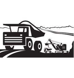 Heavy duty truck with ore in open pit vector