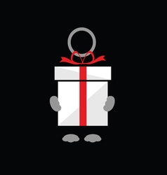holding gift box on black vector image