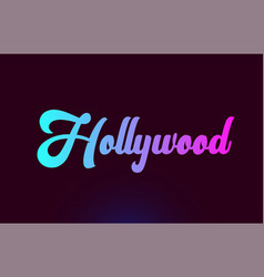 Hollywood pink word text logo icon design vector
