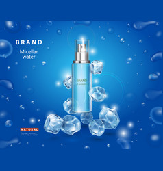 Ice toner with cubes cooling micellar water vector