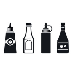 ketchup bottle icon set simple style vector image