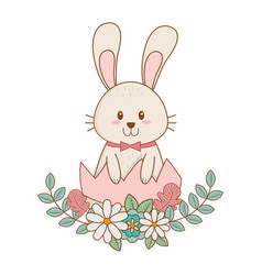 little rabbit with egg broken painted and flowers vector image