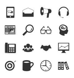 Marketing black and white flat icons set vector image