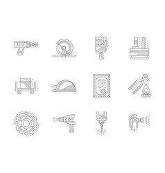Metal processing flat line icons set vector