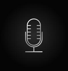 mic silver line icon retro microphone vector image