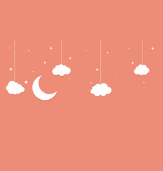 moon stars and clouds flat paperbut style vector image