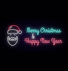 neon sign with the image of santa claus vector image
