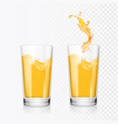 orange juice splash in glass realistic vector image