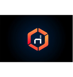 orange white polygon h letter alphabet logo vector image
