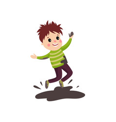 Overactive kid in soiled sweater and pants jumping vector