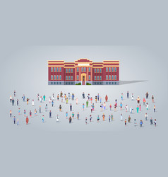People group in front school building different vector