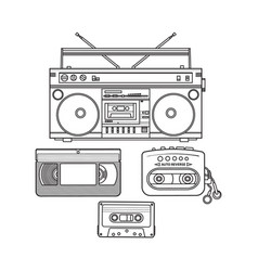 retro audio cassette tape recorder music player vector image vector image