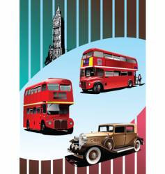 retro car and buses vector image
