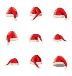 Santa Claus new year hat icons set cartoon style vector